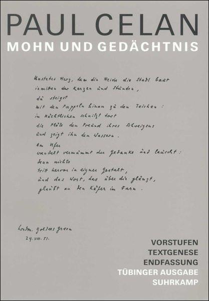 Mohn und Gedächtnis. Werke. Tübinger Ausgabe
