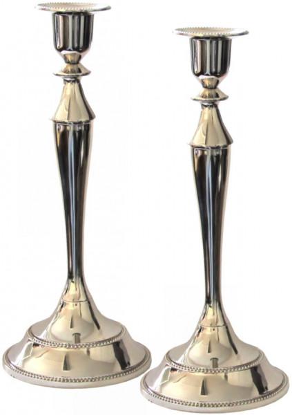 Schabbatleuchter versilbert 25cm (Gr.3) 2-teilig