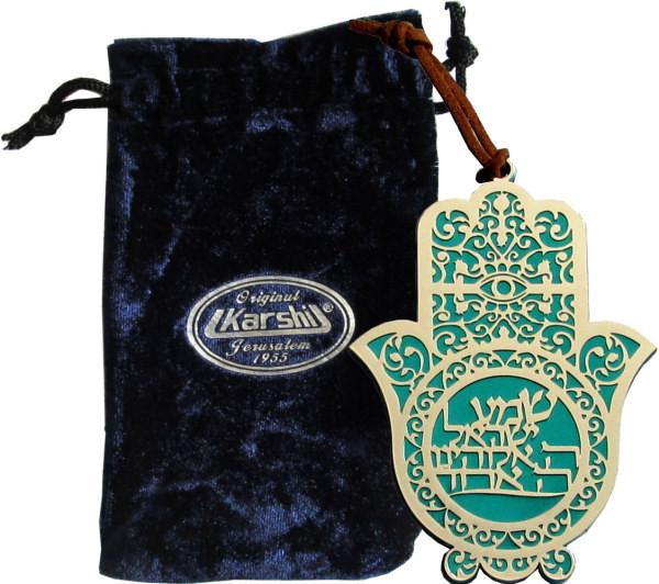 Wandschmuck Chamsa * Schma Israel* türkis/versilbert 11cm