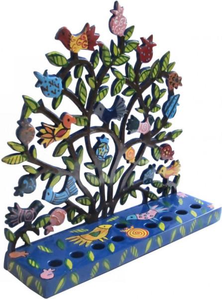 Chanukkia *Baum &Vögel* bunt bemaltes Metall 20cm