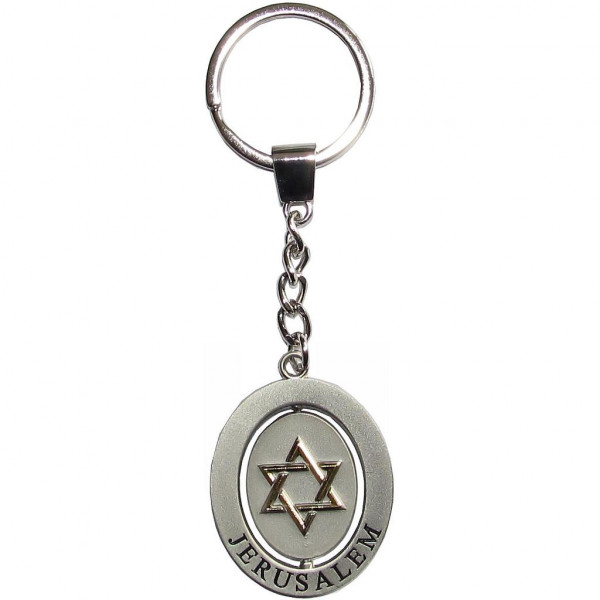 Schlüsselanhänger *Stern & Taube* drehbar Metall silber/gold
