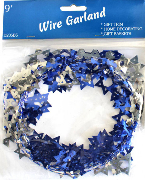 Girlande *Davidsterne* silber/blau Länge ca. 2,5m
