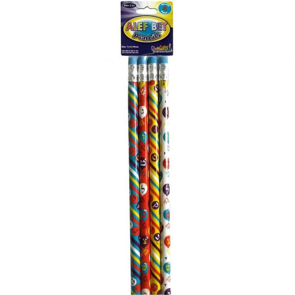 Bleistift Alef-Bet, 4-er Pack Holz bunt