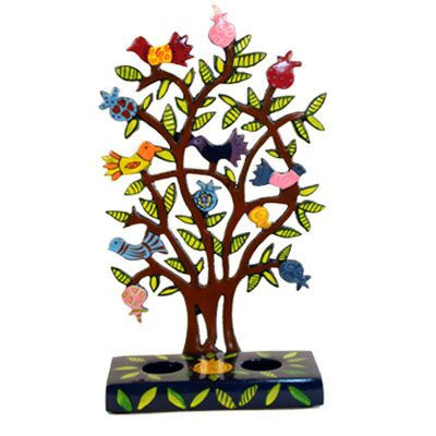Schabbatleuchter Vögelchen im Baum Metall bunt/braun 21cm