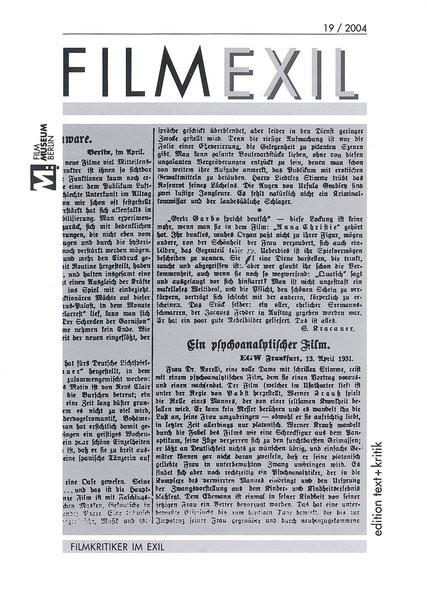 Nr. 19: Filmkritiker im Exil. Nr. 20: Filmexil Moskau