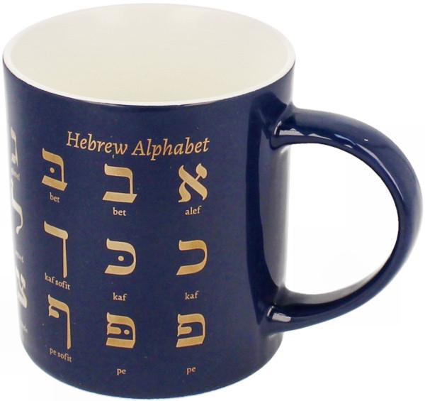 Tasse blau hebräisch Alef Bet