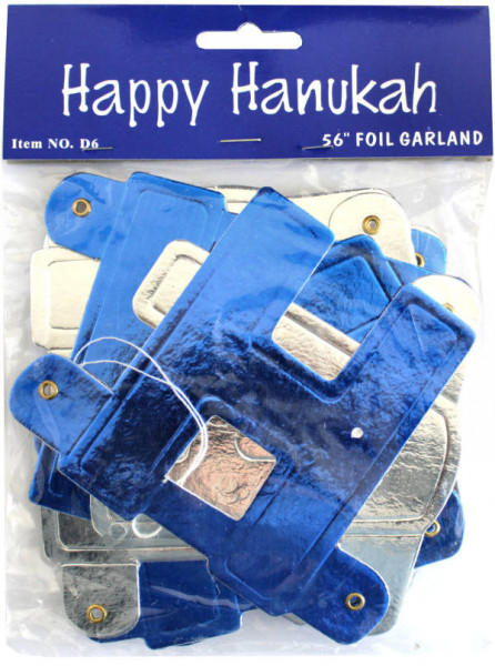 Chanukka Girlande *Happy Hanukah* blau/silber ca 1,45m lang