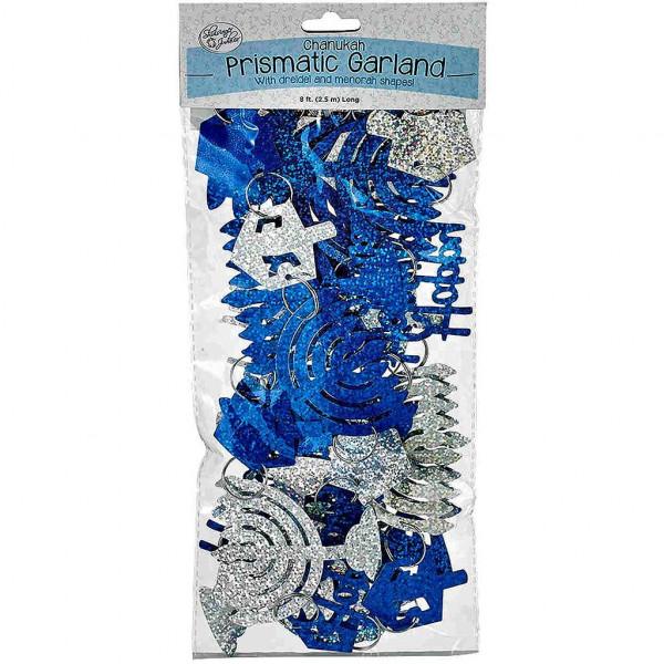 Chanukka Girlande *Happy Chanukah* prismatisch schimmernd silber/blau Länge ca. 2,5m