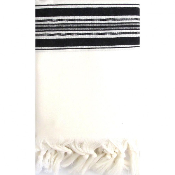 Tallit Gebetsschal aus Wolle schwarz/weiss mit Atara (Gr.L/70) 200x150cm