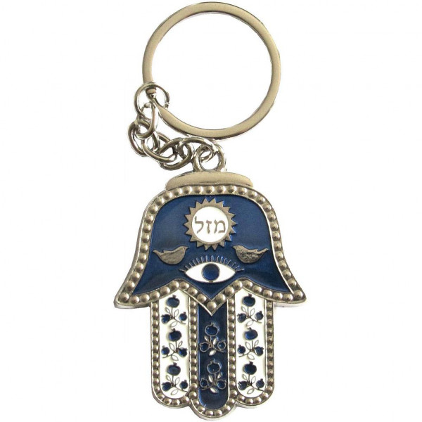 Schlüsselanhänger Chamsa Masel blau/weiss