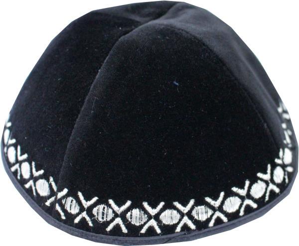 Kippa Samt schwarz *Dots* in silber 22cm