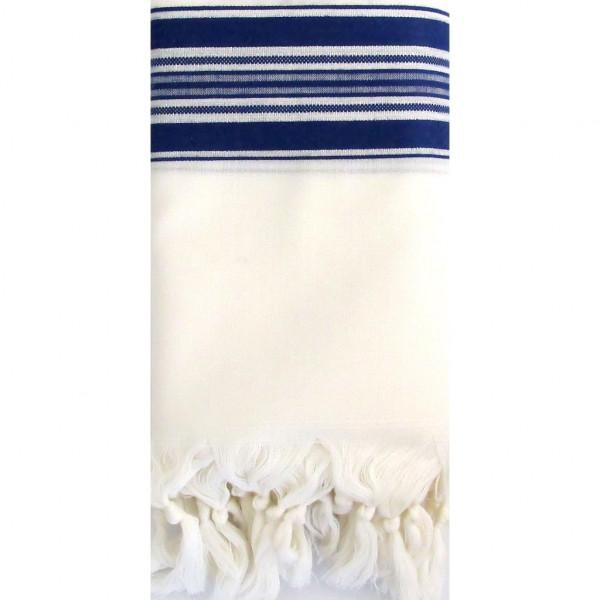 Tallit Gebetsschal aus Wolle blau/weiss mit Atara (Gr.M/60) 190x140cm