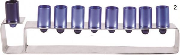 Chanukia rechteckig, eloxiert Metall blau 11