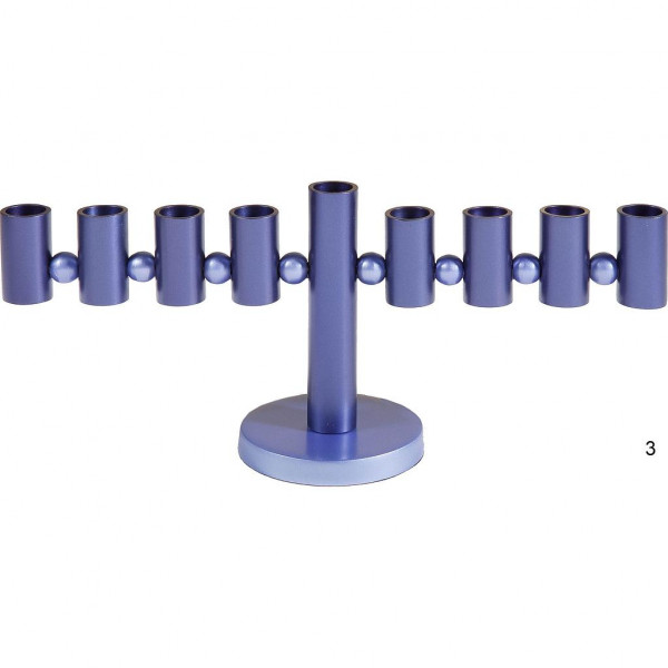 Chanukia *Waage* blau eloxiertes Metall 14cm