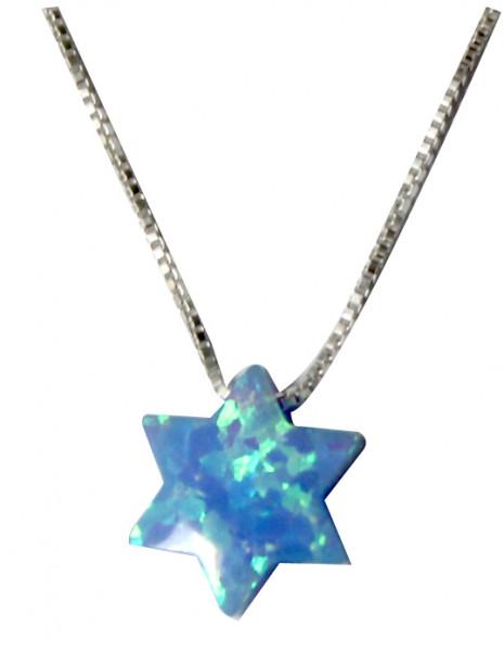 Halskette Davidstern *Opal* hellblau 8mm