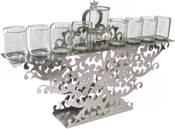 """Chanukkia """"cut-out"""" Metall mit Glitzersteinen für Kerzen oder Öl 30x20cm"""