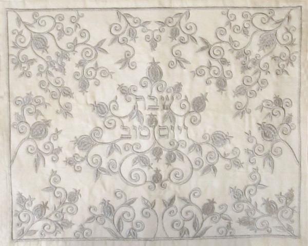 Schabbatdecke Granatäpfel & Ranken Seide creme/silber 50x40 cm