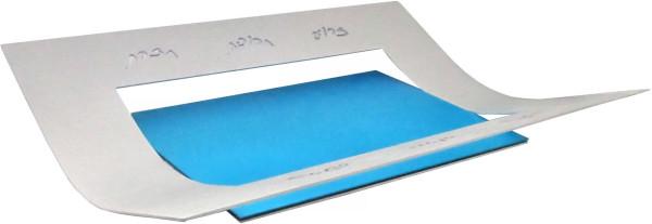 Sederteller modern, Laser-Cut, m. Schälchen Alu silber/blau 31x31