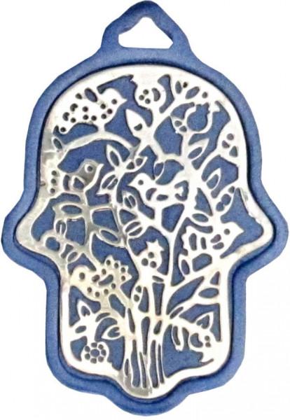Haussegen Chamsa *Vögelchen* blau eloxiertes Metall 8cm