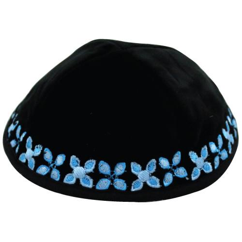 Kippa Samt / blaue Blumenstickerei 20 cm