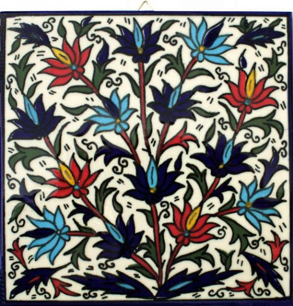 Wandschmuck Kachel *Blumen* 15x15cm