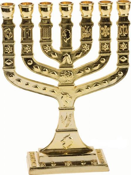 Menora Knesset, antik Metall gold 11cm