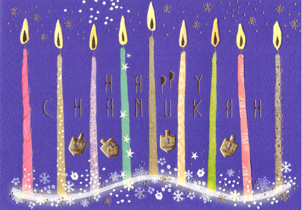 Happy Chanukah - Kerzen und Dreidel