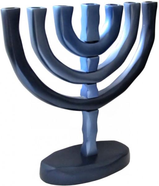 Menora klassisch blau eloxiertes Metall 20cm