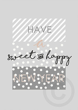 Postkarte Have a sweet and happy New Year