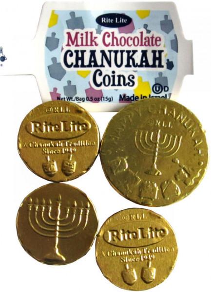 Chanukka Gelt Netz mit 4 Münzen