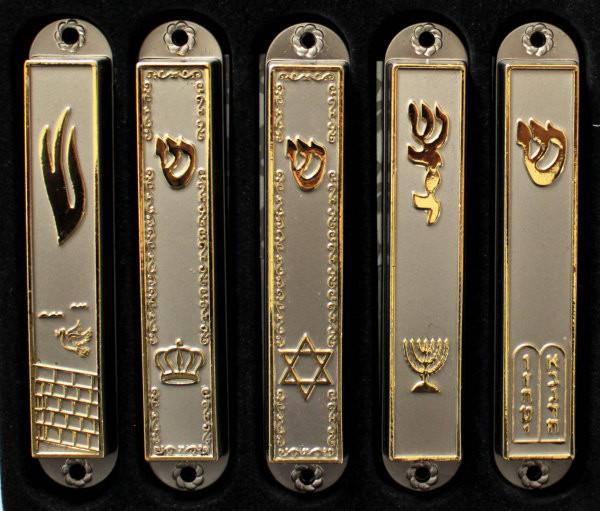 Mesusa mit diversen Symbolen mattsilber/gold 9cm (1-teilig)