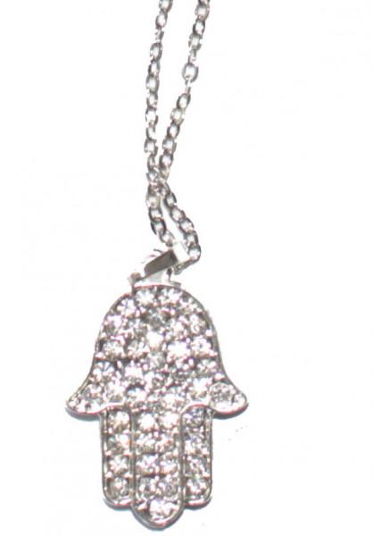 Halskette *Chamsa* mit Glitzersteinchen Rhodium ca 2,5cm
