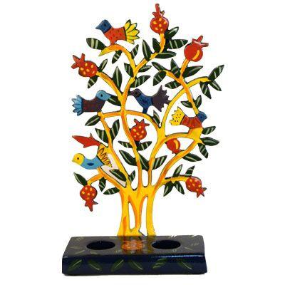 Schabbatleuchter Vögelchen im Baum Metall bunt/gelb 21cm