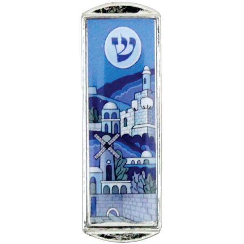 Auto Mesusa *Jerusalem* blau 5cm