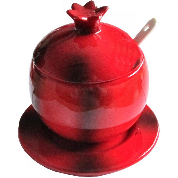 Honiggefäß *Granatapfel* rot mit Löffel Keramik 9,5cm