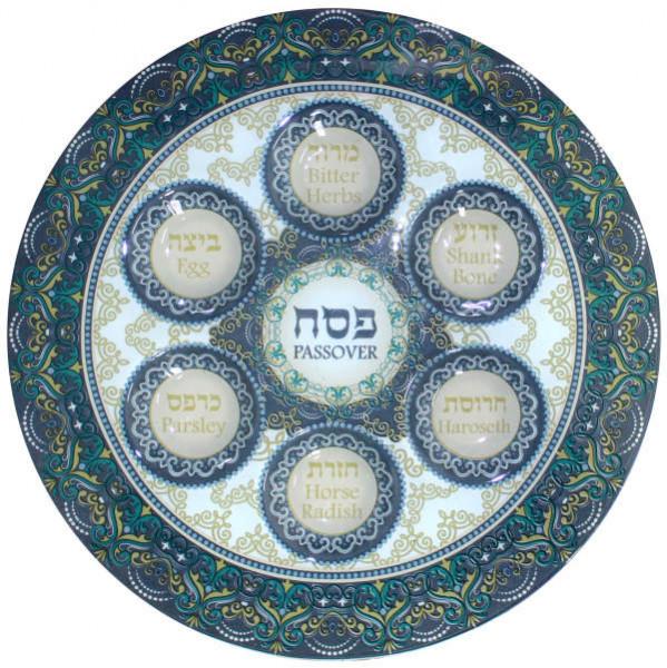 Sederteller für Pessach aus bunt bemaltem Glas in Grüntönen 36cm