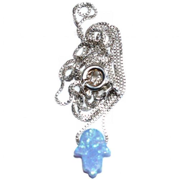 Halskette Chamsa *Opal* hellblau klein