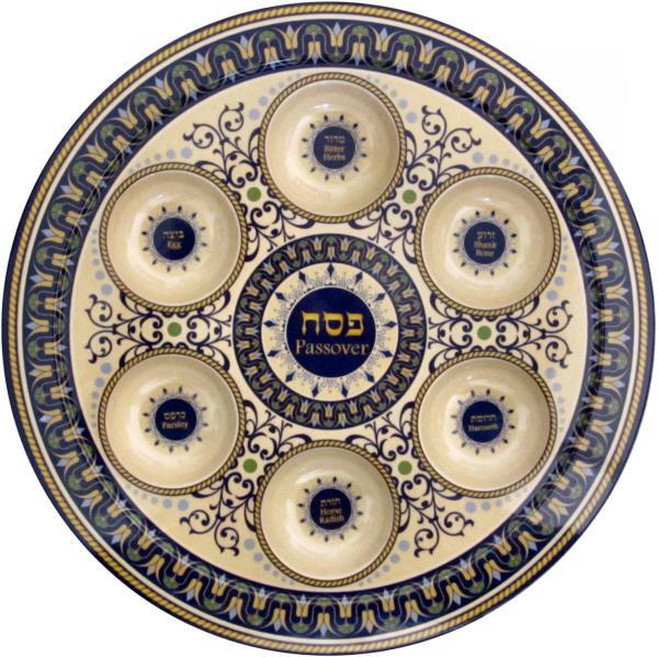 Sederteller für Pessach aus Melamin blau/grün/beige 35cm