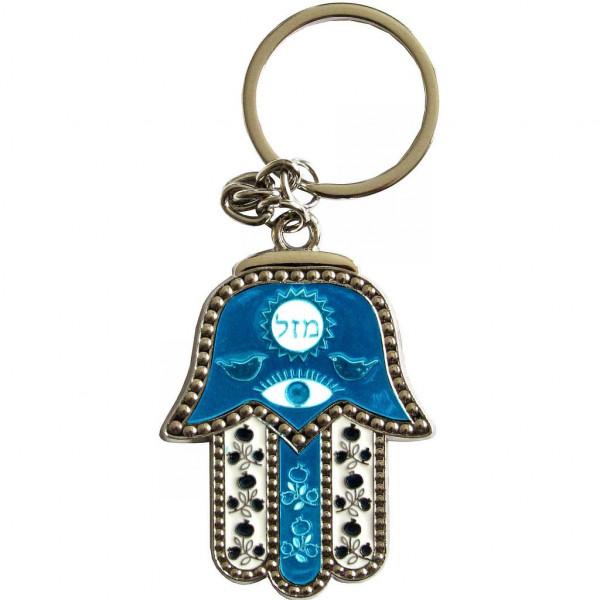 Schlüsselanhänger Chamsa Masel türkis/weiss