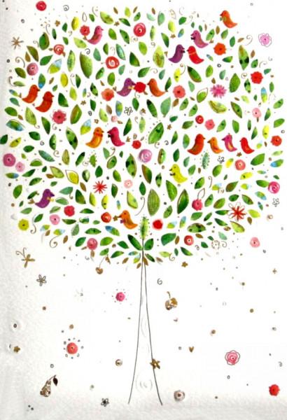 Notizbuch - Vögelchen, Baum