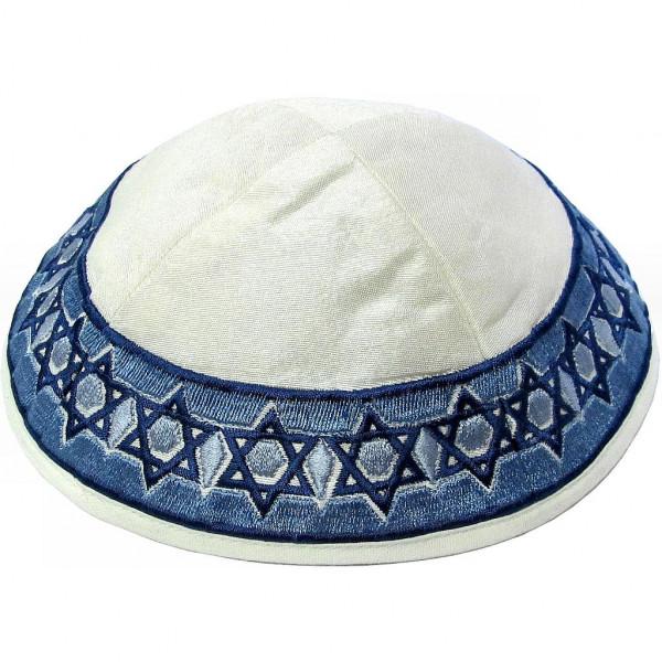 Kippa Seide creme mit blauem Sternenband bestickt 20cm