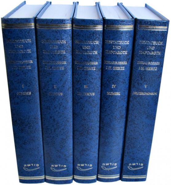 Der Pentateuch und Haftarot mit Hertz Kommentar in fünf Bänden