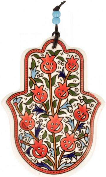 Haussegen Chamsa armenisch Granatäpfel, Keramik Keramik weiss/bunt 15