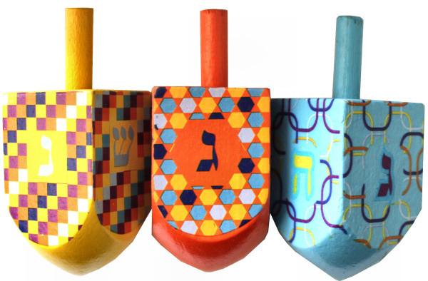 Dreidel *bunt* lackiertes Holz (1-teilig) verschiedene Farben ca 6cm