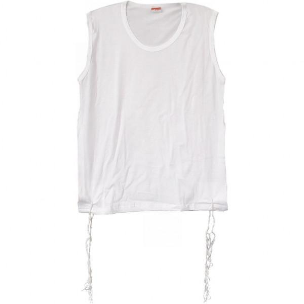 Tallit katan (Gr. L) T-Shirt mit Zizit Baumwolle weiss